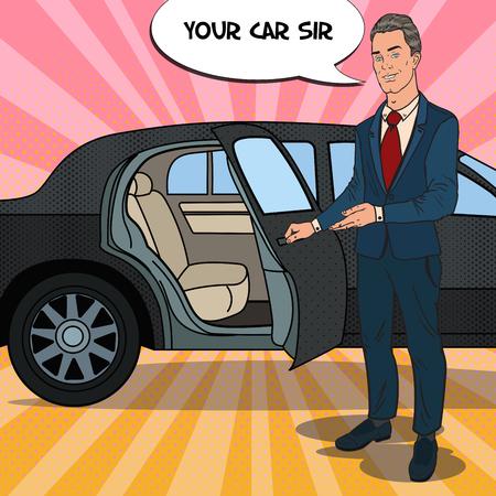 Driver Standing ner Black Limousine. Chauffeur of Premium Car. Pop Art vector illustration