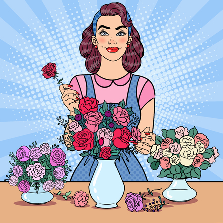 Smiling Woman Florist Making Bunch of Flowers. Pop Art vector illustration