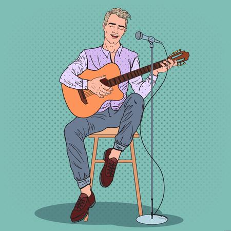 Joven tocando la guitarra y cantando la canción. Ilustración de vector de arte pop Foto de archivo - 77096634