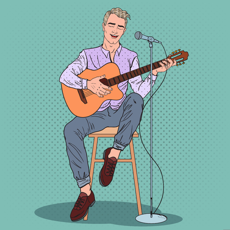 Young Man Playing on Guitar and Singing Song. Pop Art vector illustration