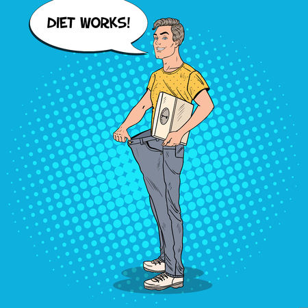Happy Man in Oversized Jeans with Weights. Dieting Concept. Pop Art vector illustration
