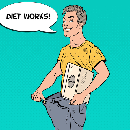 Young Man in Oversized Jeans with Weights Happy of Dieting Results. Healthy Lifestyle. Pop Art vector illustration Stock Vector - 77096642