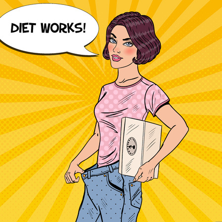 Young Woman with Weights and Big Jeans Happy of Dieting Results. Healthy Lifestyle. Pop Art vector illustration Stock Vector - 77095470