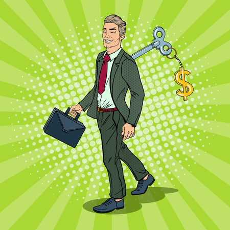 Robotic Businessman with Key of his Back. Work Automation. Pop Art vector illustration