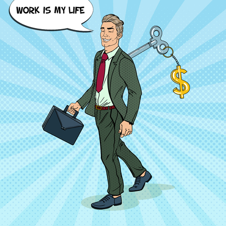Robotic Businessman Going to Work with Key of his Back. Pop Art vector illustration Illustration