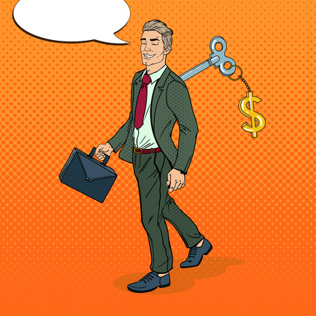 Mechanical Businessman Going to Work with Key of his Back. Pop Art vector illustration Ilustrace