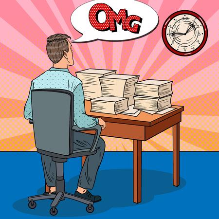 Beschäftigter Geschäftsmann mit Stapel Papieren. Überstunden bei der Arbeit. Pop-Art-Vektor-Illustration Standard-Bild - 77096379