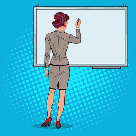 Woman Drawing on Whiteboard. Business Presentation. Pop Art vector illustration Illustration
