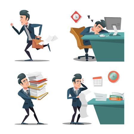 職場でのストレス。仕事に遅れてブリーフケースを持ったビジネスマン。ラッシュの男。残業のオフィス。ベクトル文字図