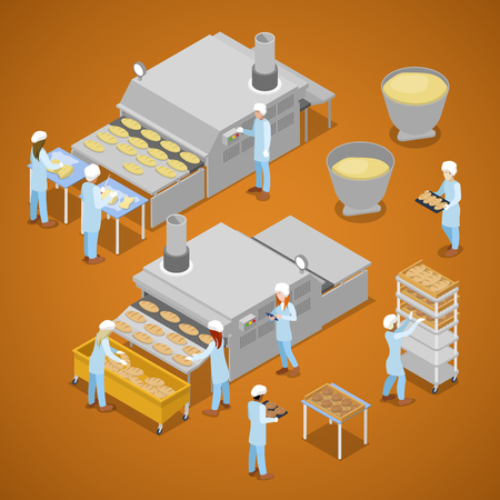 freshly: Bakery Factory. Interior of Baking Production. Isometric vector flat 3d illustration Illustration