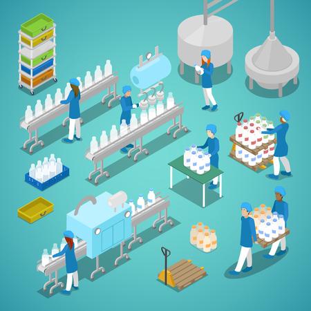 Fabryka mleka. Zautomatyzowana linia produkcyjna w mleczarni z pracownikami. Isometric wektorowa płaska 3d ilustracja