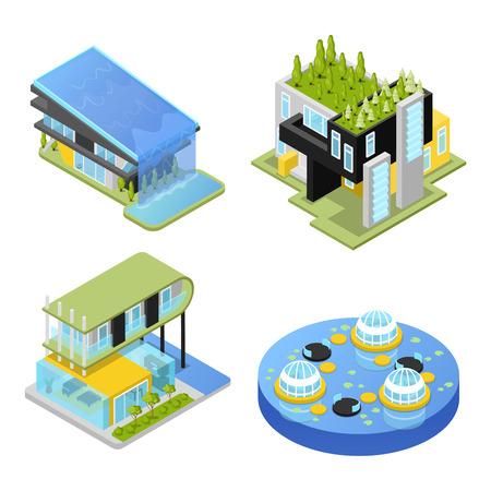 未来的な民家。近代建築。等尺性ベクトル平らな 3 d イラスト