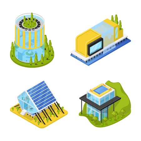 Futuristische privéhuizen met planten. Moderne architectuur. Isometrische vector platte 3d illustratie Stockfoto - 77082049