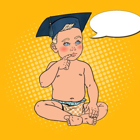 Babyjongen in Bachelor Cap. Vroege Opleidingsconcept. Pop-art vectorillustratie
