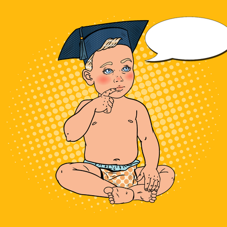 Baby Boy in Bachelor Cap. Early Education Concept. Pop Art vector illustration Illustration