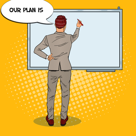 Businessman Drawing on the Whiteboard. Business Training. Pop Art vector illustration