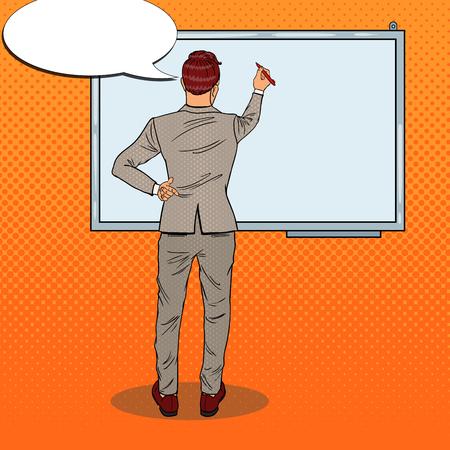 Business Trainer Drawing on the Whiteboard. Pop Art vector illustration Illustration