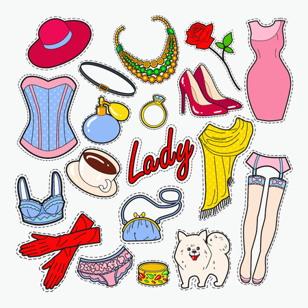 Woman Fashion Badges and Patches. Lady Clothes and Accessories. Vector illustration