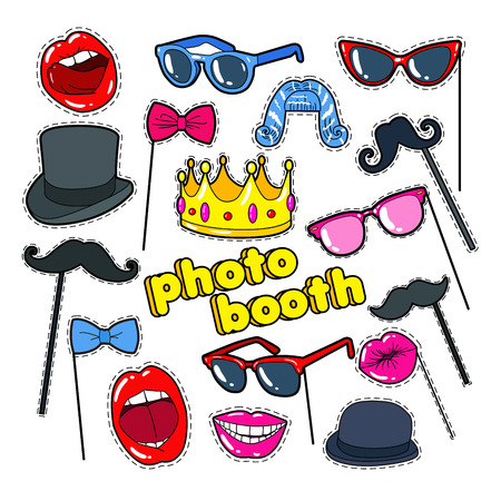 Photo Booth Props with Lips, Hat and Eyeglasses. Party Decoration Badges, Patches and Stickers. Vector illustration