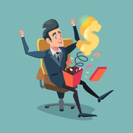 Homme d'affaires excité, ouvrant une boîte-cadeau avec de l'argent. Illustration de dessin animé de vecteur Banque d'images - 77599795