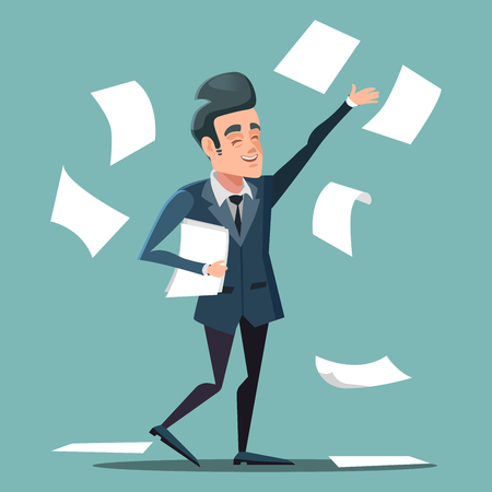Happy Businessman Throwing Papers at the Office. Vector cartoon illustration Illustration