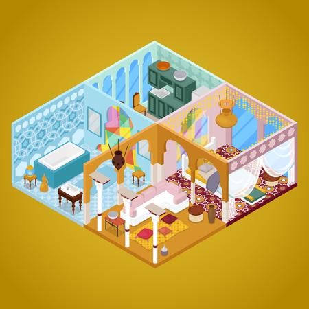 Arabian Interior Design. Apartment in Arabic Style. Isometric vector flat 3d illustration