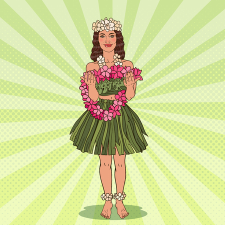 Hawaiian Girl with Tropical Flower Necklace. Pop Art vector illustration Ilustração