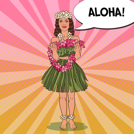 Beautiful Hawaiian Girl with Traditional Tropical Flower Necklace. Pop Art vector illustration Çizim