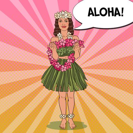 Muchacha hawaiana hermosa con el collar tropical tradicional de la flor. Pop Art ilustración vectorial Foto de archivo - 77599806