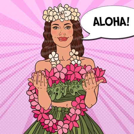 熱帯の花のネックレスを持つ美しいハワイアン少女。ポップアートのベクトル図