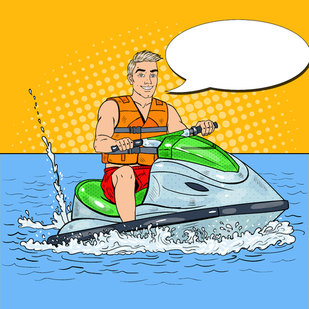 Young Man Driving Jet Ski. Extreme Water Sports. Pop Art vector illustration Illustration