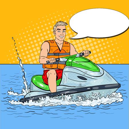 Young Man Driving Jet Ski. Extreme Water Sports. Pop Art vector illustration Ilustração