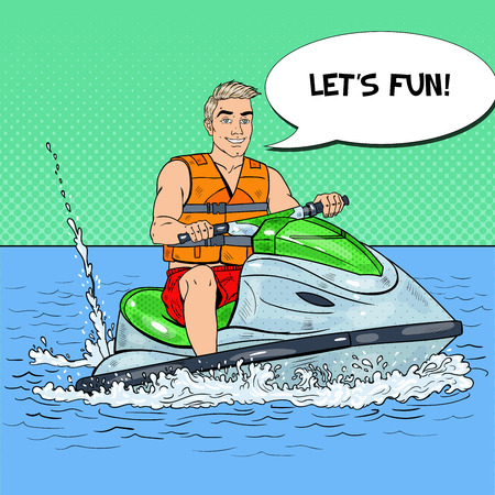 Young Man Having Fun on Jet Ski. Extreme Water Sports. Pop Art vector illustration