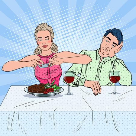 Paar dat Lunch in Restaurant heeft. Vrouw die foto van voedsel neemt. Pop Art vectorillustratie
