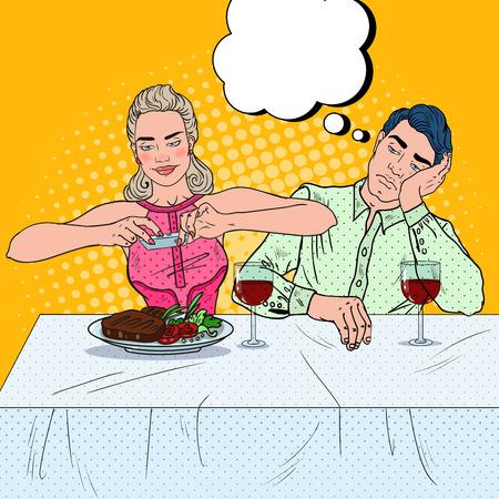dinner date: Couple Having Dinner in Restaurant. Woman Taking Photo of Food. Pop Art vector illustration Illustration