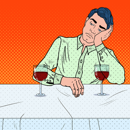 Alone Sad Man Drinking Wine in Restaurant. Pop Art vector illustration