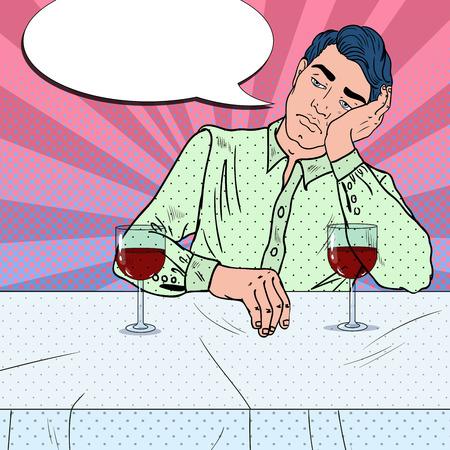 Alone Sad Man Drinking Wine in Restaurant. Broken Heart. Pop Art vector illustration