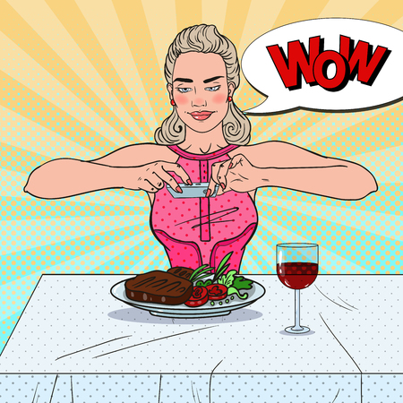 vintage telephone: Young Woman with Smartphone Taking Photo of Food in Restaurant. Pop Art vector illustration Illustration