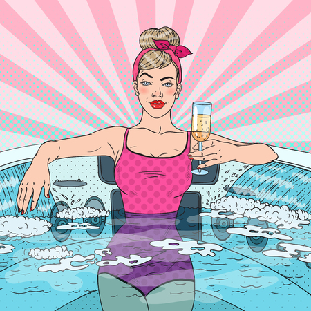 Beautiful Woman Drinking Champagne in hot tub. Pop Art vector illustration