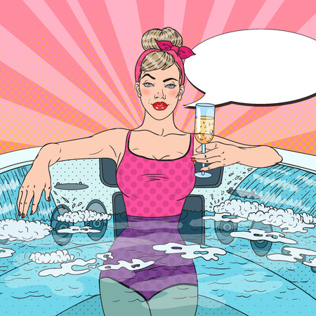 Woman Drinking Champagne and Relaxing in Jacuzzi. Pop Art vector illustration Çizim