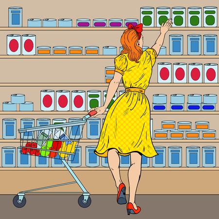 Vrouw die bij de Supermarkt met Kar winkelt. Pop Art vectorillustratie Stock Illustratie