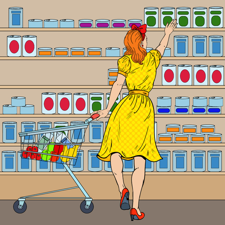 Woman Shopping at the Supermarket with Cart. Pop Art vector illustration Фото со стока - 77600159