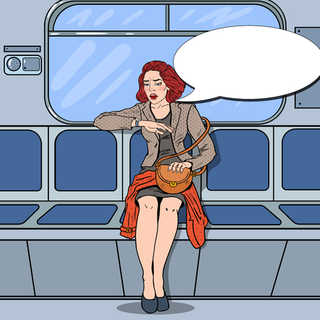 concerned: Stressed Business Woman Traveling in Metro Late at Work. Pop Art vector illustration