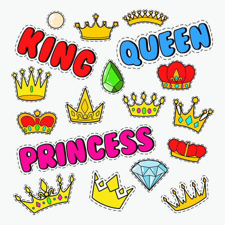 Royal Doodle with Set of Golden Crowns and Gems. Vector illustration