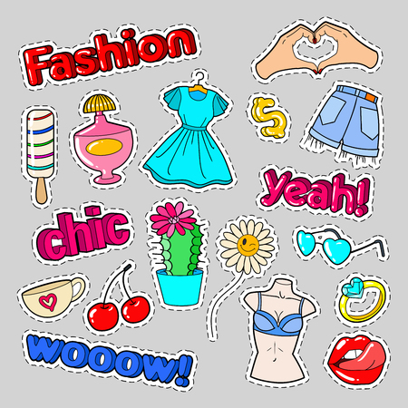 Teenager Fashion Badges, Patches and Stickers with Lips, Hands and Ring. Vector illustration