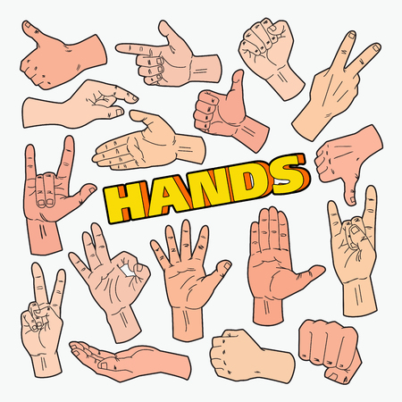 Hands Gestures Doodle with Different Signs Illustration