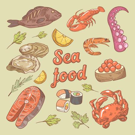 魚、カニと牡蠣と海食品手描き落書き。ベクトル図