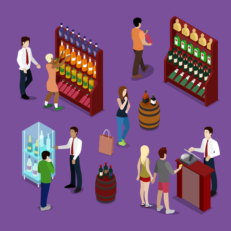 mujer en el supermercado: Alcohol Shop Interior with Wine Bottles, Customers and Seller. Isometric vector flat 3d illustration Vectores