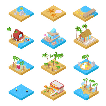 Beach Vacation Collection with Bungalow, Boat and Palm Trees. Tropical Resort. Isometric vector flat 3d illustration Ilustrace