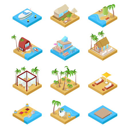 Beach Vacation Collection with Bungalow, Boat and Villa Suit. Tropical Resort. Isometric vector flat 3d illustration
